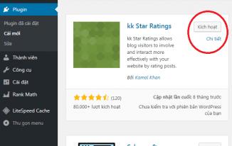 Cài đặt Kk Star Ratings – Plugin đánh giá bài viết 5 sao WordPress